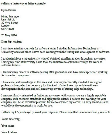 Cover Letter For Software Tester by Software Tester Cover Letter Exle Learnist Org