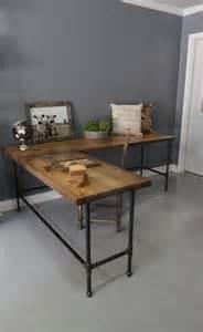Industrial Wood Computer Desk Industrial L Shaped Desk Wood Desk Pipe Desk Reclaimed By