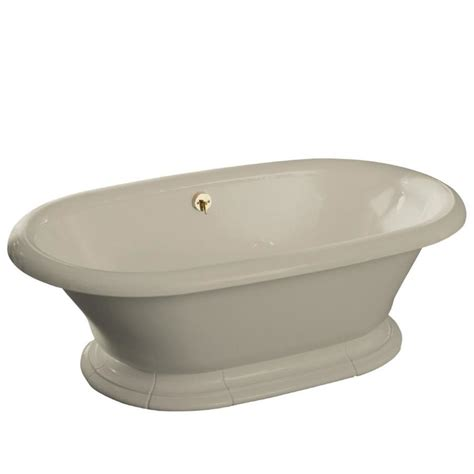 pedestal bathtub shop kohler vintage sandbar cast iron oval pedestal bathtub with center drain common