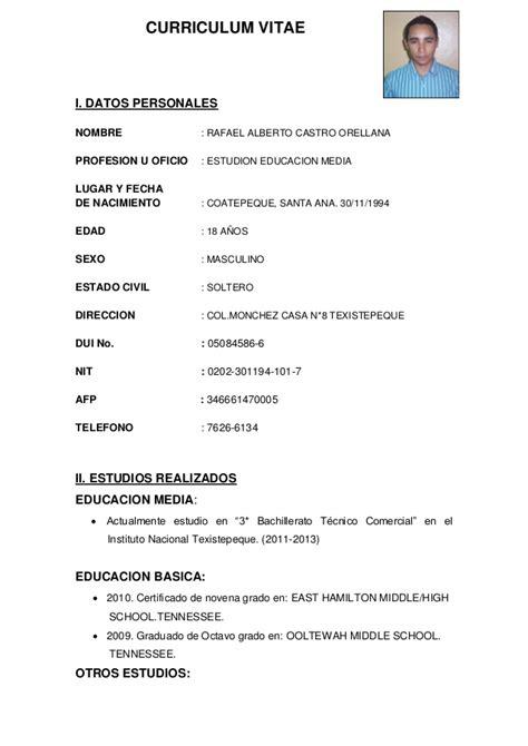Modelo De Curriculum Para Mi Primer Trabajo Curriculum Rafael Orellana