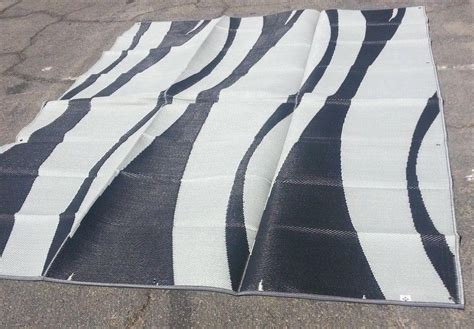 rv outdoor rugs rv patio awning mat reversible outdoor rug 9x12 black silver wave 9x12sw ebay