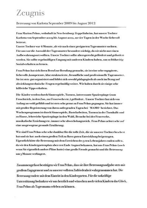 Zeugnisse Schreiben Muster Tagesmutter Zeppelinheim