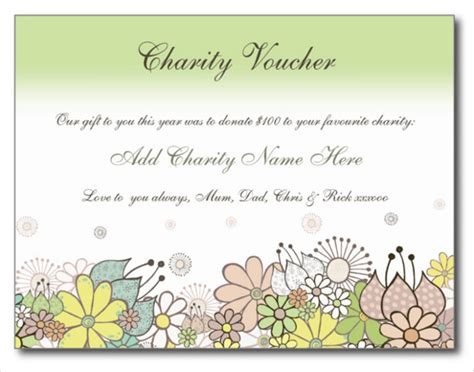 donation card template free birthday charity donation voucher gift card template