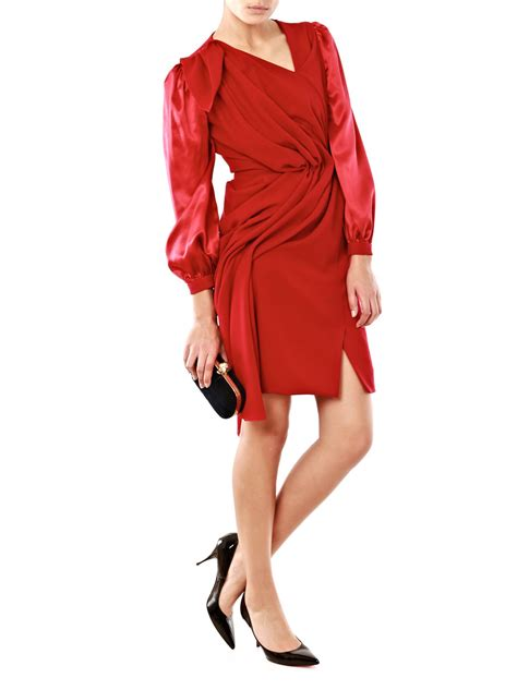 dress drape roksanda drape detail dress in red lyst
