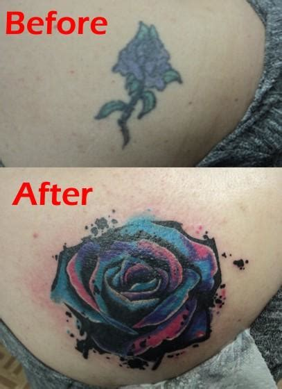watercolor rose cover up tattoo by spellfire42489 on