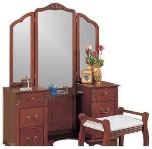 Vanities Bedroom Coaster Traditional Wood Makeup Vanity Table Set With