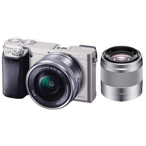 Sony Mirrorless A6000 Kit 16 50mm sony alpha a6000 mirrorless digital with 16 50mm and 50mm lenses kit silver