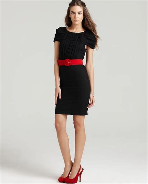 pleated sleeve dress with belt in
