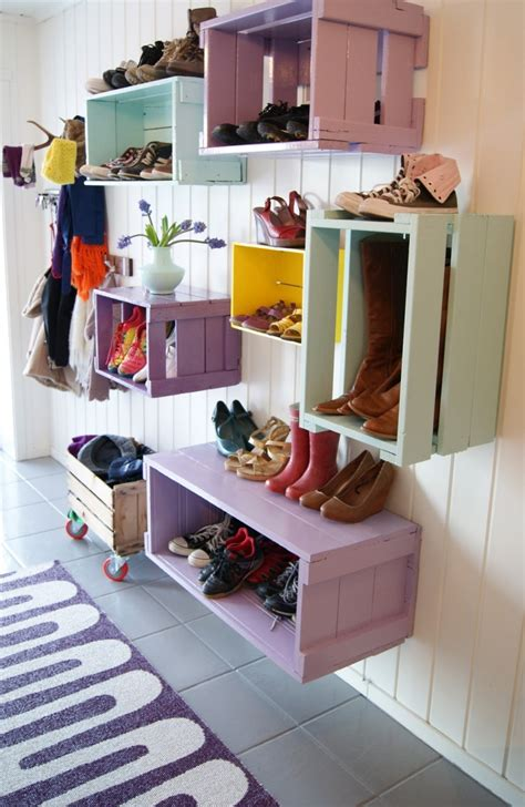 diy shoe shelves diy colorful shoe wall storage shelterness