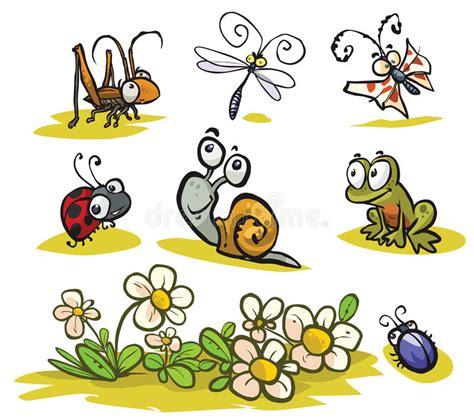 насекомые шаржа и малые животные иллюстрация вектора