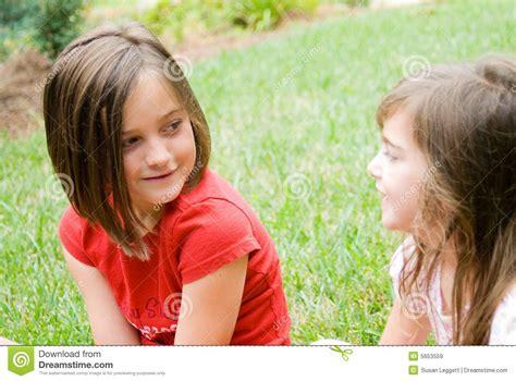 backyard babes girls in yard talking royalty free stock images image