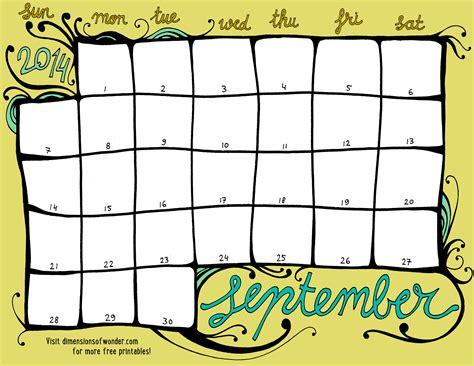 free printable monthly calendar september 2014 color