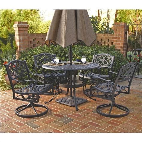 Outdoor Dining Sets Black 5 Metal Patio Dining Set In Black 5554 325