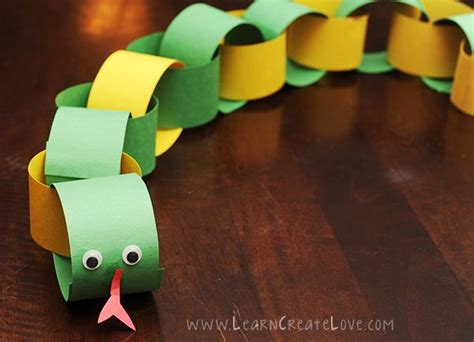 Paper Chain Craft - paper chain snake craft animals crafs