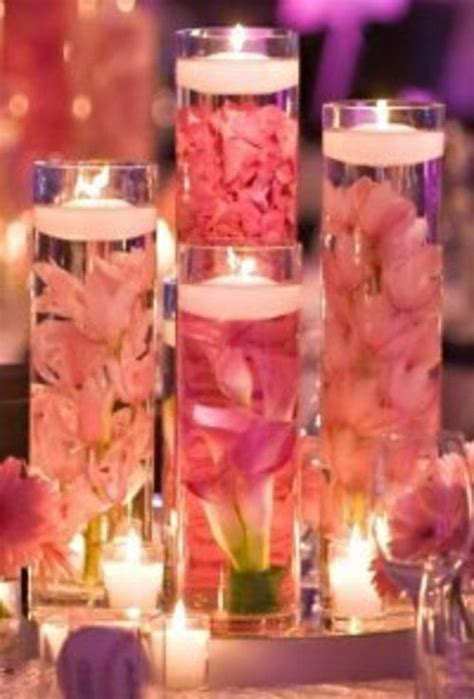 Cylinder Vases With Floating Candles And Flowers by Set Of 9 Custom Submerged Flower Centerpieces With Glass