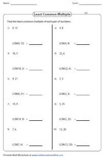least common multiple worksheets