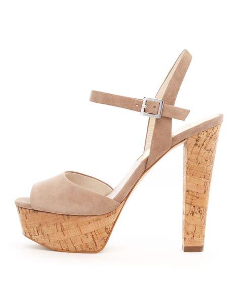michael kors platform sandal michael kors lucia suede platform sandal in beige