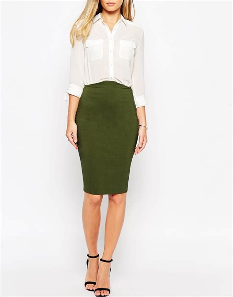 asos high waisted pencil skirt in green lyst