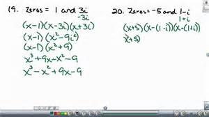 writing polynomial equations given the roots