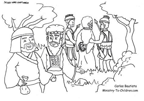 coloring page jesus in the garden judas betrays jesus coloring page