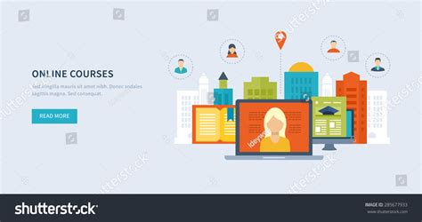 design online training flat design modern vector illustration icons stock vector