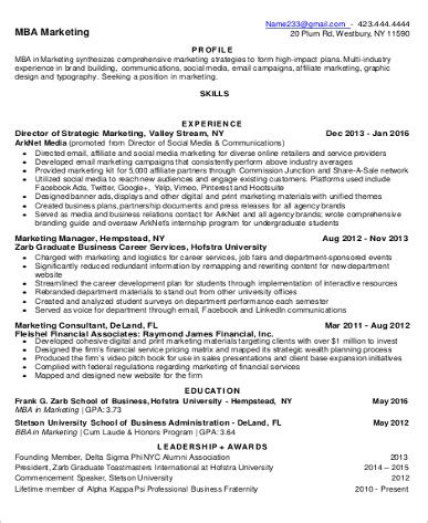 Resume Format For Mba Marketing Pdf by Sle Mba Resume 7 Exles In Word Pdf