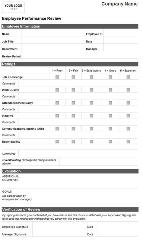 performance management forms templates the world s catalog of ideas