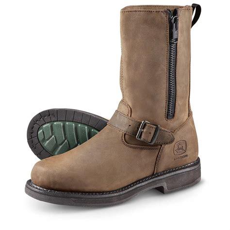 """Men's John Deere® 11"""" Side   zip Work Boots, Brown"""
