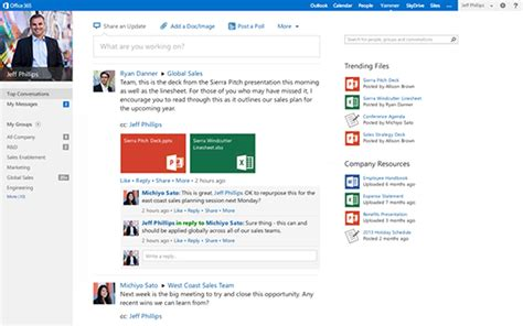 Office 365 News Feed Yammer And Sharepoint Enterprise Social Roadmap Update