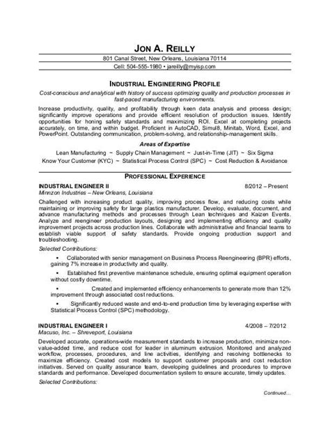 industrial engineer resume sle monster com