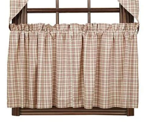 plaid cafe curtains tacoma 24 inch tiers by nancy s nook the weed patch