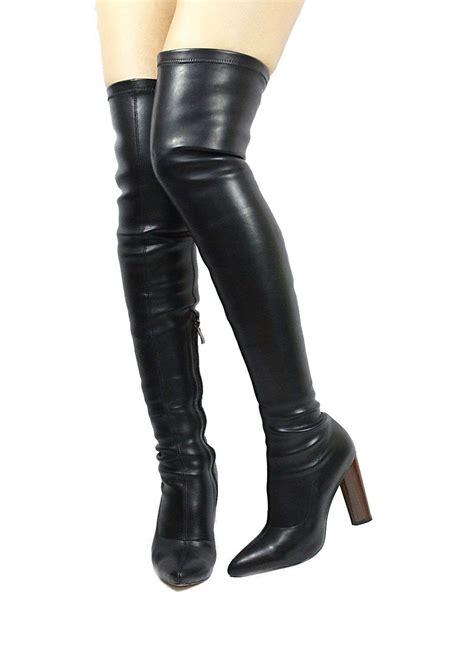 thigh high boots chunky heel camy pu black wowtrendz thigh high chunky heel snug