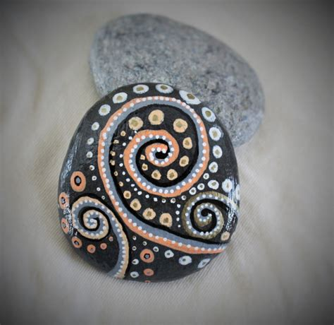Handmade Rock - black rock design handcrafted handmade painted