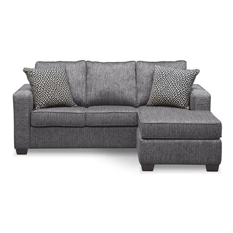 sofa with chaise and sleeper sterling charcoal queen innerspring sleeper sofa w chaise