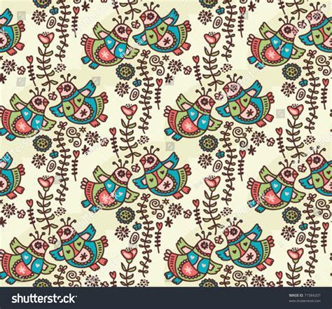 doodle eka seamless pattern with folk birds hearts and flora vector