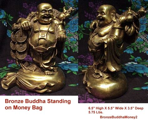 Dragon Decorations For A Home happy bronze buddha standing on bag of money with coins
