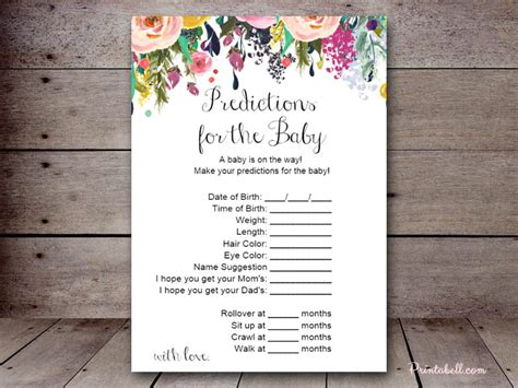 baby shower prediction cards template sn34a 5 x7 shabby chic printabell create