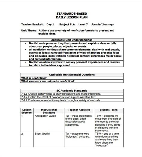 formal lesson plan template daily lesson plan template 12 free sle exle