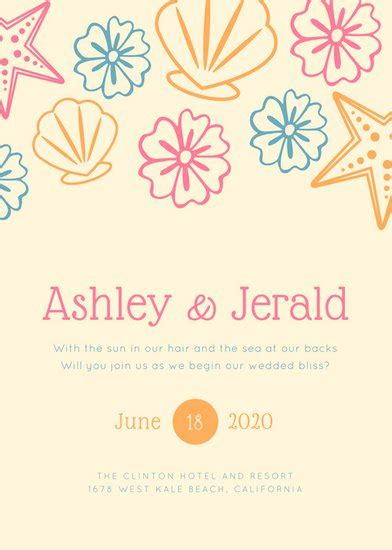 beach wedding invitation templates canva