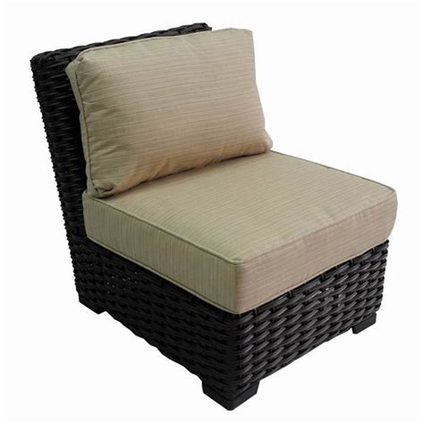 outdoor wicker furniture with sunbrella cushions shop allen roth blaney brown wicker patio conversation chair with an beige sunbrella cushion