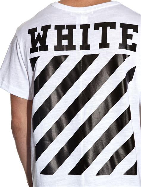 The Addicted T Shirt Logo White white c o virgil abloh logo printed cotton t shirt in white for lyst