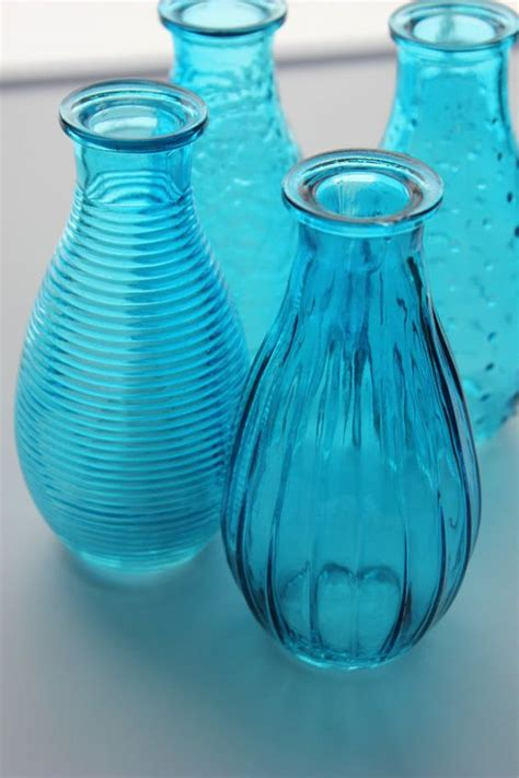 Blue Vases For Wedding by Set Of 10 Ten Aqua Blue Bottles Bud Vase Glass Vases Mini