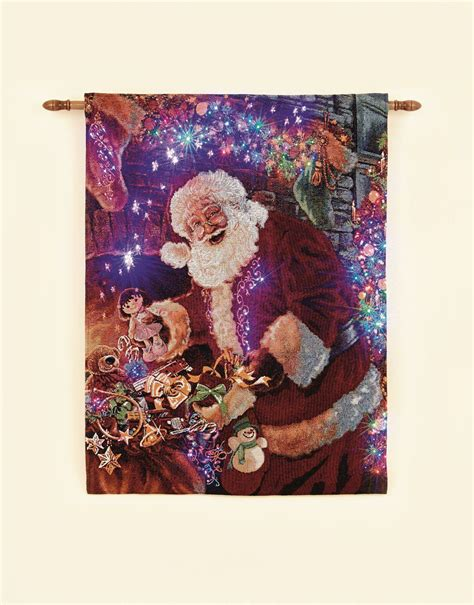 christmas xmas tapestry 90cm x 65cm led wall hanging
