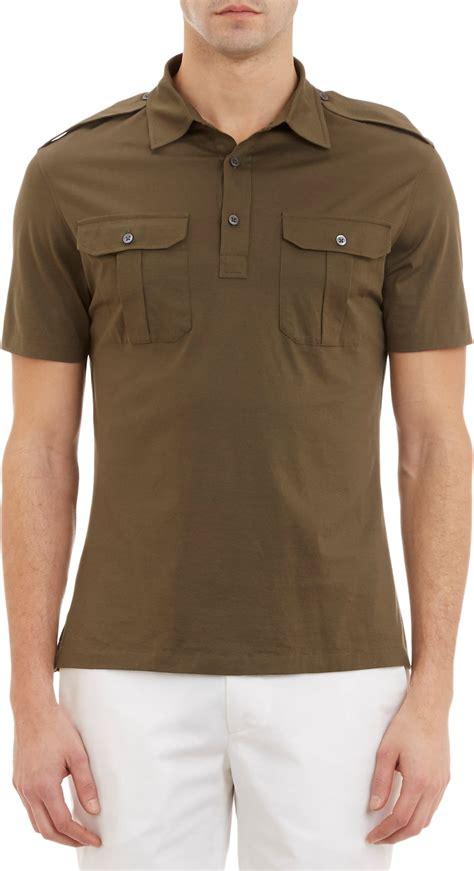 Polo Shirt Cokelat 1 ralph black label epaulette polo shirt in green for lyst