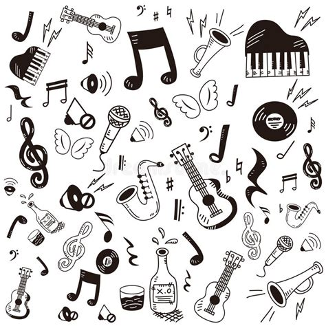 musical doodle free vector doodle icon set stock vector image of bird