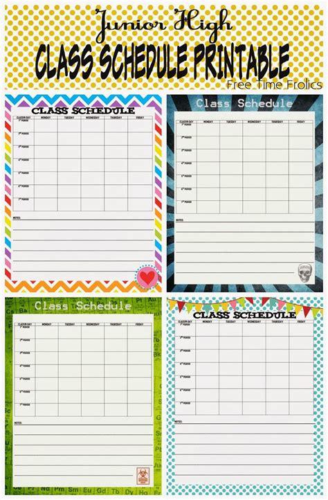 junior high class schedule printable school schedule printable school schedule class