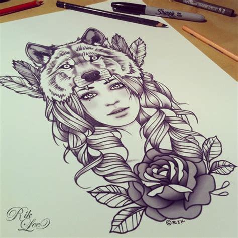 tattoo animal girl wolf headdress tat tattoos pinterest sleeve tattoo