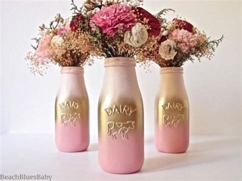 home decor centerpieces pink and gold ombre decor centerpiece painted milk