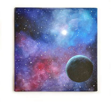 acrylic painting galaxy original painting ooak acrylic space blue black