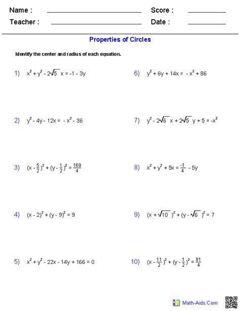 algebra 2 conic sections graphing circles worksheet worksheets tutsstar thousands